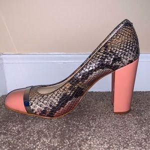 CALVIN KLEIN BLAINE pink beige PYTHON block heel 5